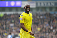 Souleymane Doukara of Leeds United looks on. Skybet football league Championship match, Blackburn Rovers v Leeds United at Ewood Park in Blackburn, Lancs on Saturday 12th March 2016.<br /> pic by Chris Stading, Andrew Orchard sports photography.