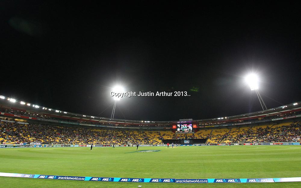 General view of play. ANZ T20 Series. 3rd Twenty20 Cricket International. New Zealand Black Caps v England at Westpac Stadium, Wellington, New Zealand on Friday 15th February 2013. Photo: Justin Arthur / photosport.co.nz