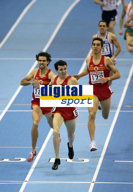 Photo: Rich Eaton.<br /> <br /> EAA European Athletics Indoor Championships, Birmingham 2007. 04/03/2007. Spains Juan Carlos Higuero  celebrates victory in the mens 1500m race ahead of Sergio Gallardo, left,  and Arturo Casado , right, also of Spain