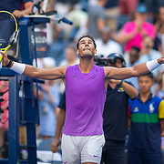 2019 US Open Tennis Tournament- Day Six.  Rafael Nadal of Spain celebrates his victory against Hyeon Chung of Korea in the Men's Singles round three match on Arthur Ashe Stadium during the 2019 US Open Tennis Tournament at the USTA Billie Jean King National Tennis Center on August 31st, 2019 in Flushing, Queens, New York City.  (Photo by Tim Clayton/Corbis via Getty Images)
