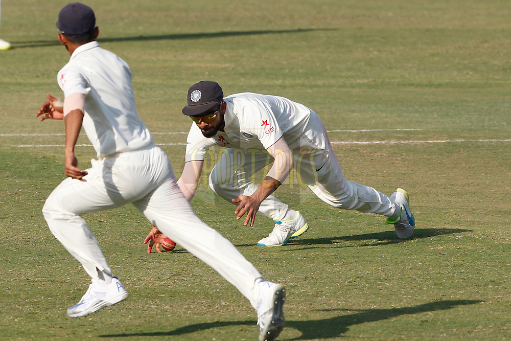 Virat Kohli Captain of India in action during day 4 of the first test match between India and England held at the Saurashtra Cricket Association Stadium , Rajkot on the 12th November 2016.<br /> <br /> Photo by: Deepak Malik/ BCCI/ SPORTZPICS