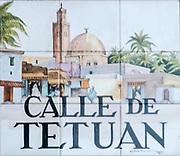 Calle de Tetuan. Ceramic street sign in Madrid, Spain