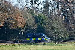 © Licensed to London News Pictures. 02/12/2019. WATFORD, UK. A police van parked in the grounds at The Grove Hotel in Chandler's Cross, ahead of the NATO Summit which will be attended by heads of state and government.  The main NATO leaders' meeting takes place on 4 December.  Donald Trump, President of the United States, who will be one of the leaders attending, will also be one of the guests at a reception at Buckingham Palace on 3 December.  Photo credit: Stephen Chung/LNP