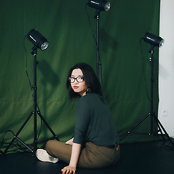 Kubra Khademi, artist, posing in her studio at the Fondation Fiminco. Romainville, France. March 23, 2021.<br /> Kubra Khademi, artiste, prenant la pose dans son studio de la Fondation Fiminco. Romainville, France. 23 mars 2021.
