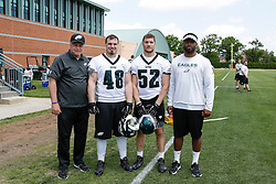 A Group Photo of the Linebackers who attended the Philadelphia Eagles NFL football rookie camp at the teams practice facility on Saturday, May 17, 2014. (Photo by Brian Garfinkel)