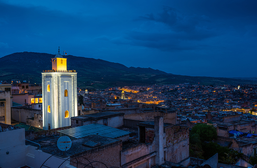 FEZ, MOROCCO - CIRCA MAY 2018:  View of Fez at night from the terrace of Palais Faraj Hotel