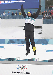 PYEONGCHANG, Feb. 10, 2018  Sweden's Charlotte Kalla celebrates during the victory ceremony of Ladies' 7.5km + 7.5km Skiathlon of Cross-Country Skiing at the 2018 PyeongChang Winter Olympic Games at the Alpensia Cross-Country Skiing Centre in PyeongChang, South Korea, on Feb. 10, 2018. Charlotte Kalla won the gold medal by 40:44.9. (Credit Image: © Lui Siu Wai/Xinhua via ZUMA Wire)