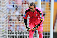 Lee Camp, the Rotherham Utd goalkeeper looks on.  EFL Skybet championship match, Aston Villa v Rotherham Utd at Villa Park in Birmingham, The Midlands on Saturday 13th August 2016.<br /> pic by Andrew Orchard, Andrew Orchard sports photography.
