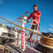 Leg 4, Melbourne to Hong Kong, day 10 on board MAPFRE, Guillermo Altadill stearing. Photo by Ugo Fonolla/Volvo Ocean Race. 11 January, 2018.