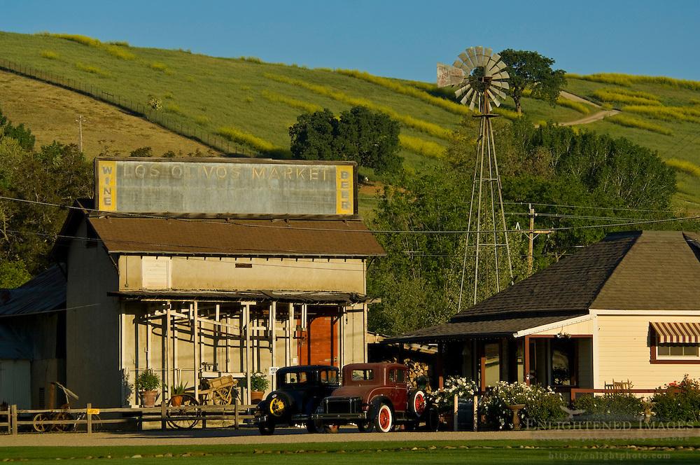 Vintage antique cars parked in front of the Los Olivos Market, Los Olivos, California