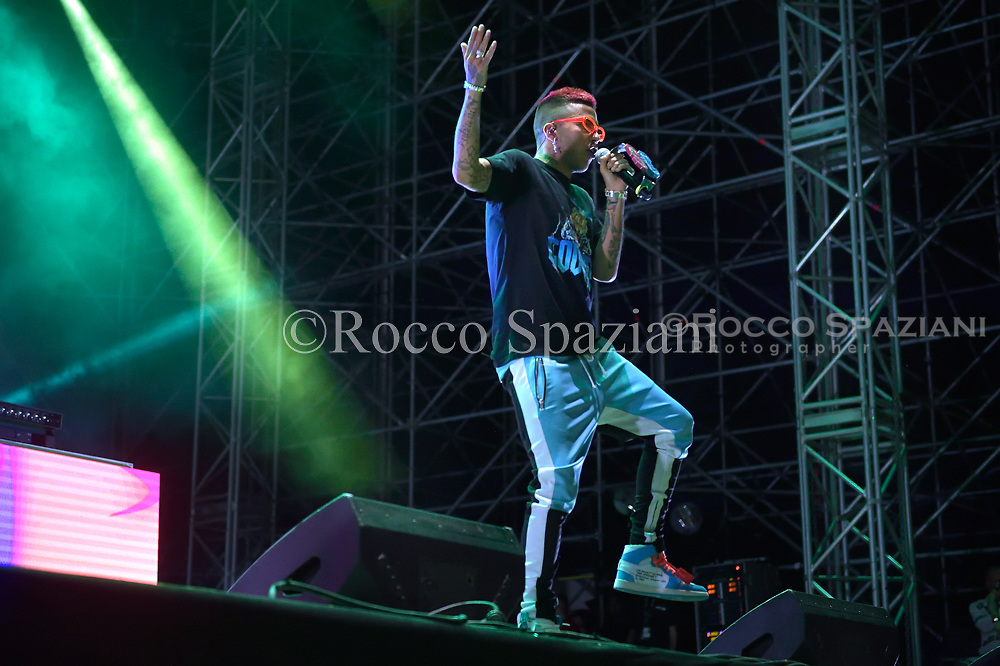 Sfera Ebbasta, performing live on stage in Rome at Rock in Roma festival in  Rome, Italy on 21 July 2018.