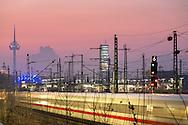 DEU, Germany, Cologne, high-speed train ICE in the town district Deutz, television tower and the highrise building KoelnTurm.<br /> <br /> DEU, Deutschland, Koeln, Hochgeschwindigkeitszug ICE in Deutz, Fernsehturm und KoelnTurm.