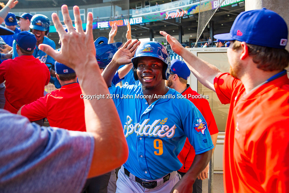 Amarillo Sod Poodles infielder Ruddy Giron (9) against the Tulsa Drillers during the Texas League Championship on Sunday, Sept. 15, 2019, at OneOK Field in Tulsa, Oklahoma. [Photo by John Moore/Amarillo Sod Poodles]