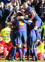 FC Barcelona's players celebrate goal during La Liga match.December 23,2017. (ALTERPHOTOS/Acero)