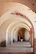 Fortifications inside Fort Pulaski National Monument on Cockspur Island between Savannah and Tybee Island, Georgia.