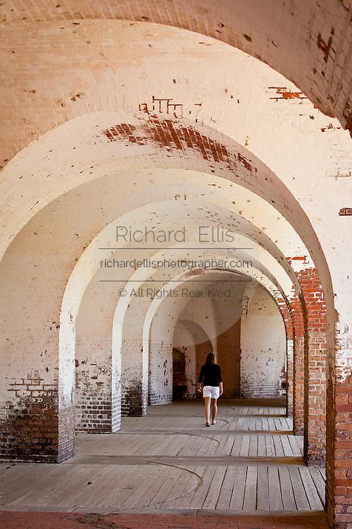 Fortifications inside Fort Pulaski National Monument on Cockspur Island between Savannah and Tybee Island, Georgia.