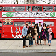Simon Gross, Lady Colin Campbell, Francine Lewis, Alex Reid, Tonia Buxton and Nadia Essex attend Celeb Bri Tea, on board the BB Bakery bus on 22 March 2019, London, UK.
