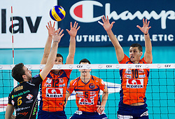 Simone Parodi of Macerata vs Gregor Ropret of ACH and Borislav Petrovic of ACH during volleyball match between ACH Volley and Lube Banca Marche Macerata (ITA) in 5th Leg of Pool D of 2013 CEV Champions League on December 5, 2012 in Arena Stozice, Ljubljana, Slovenia. ACH defeated Macerata 3-1. (Photo By Vid Ponikvar / Sportida)