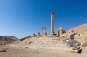 Temple of the Standards, (said to be location of the Palace of Zenobia) Palmyra, Syria. Ancient city in the desert that fell into disuse after the 16th century.