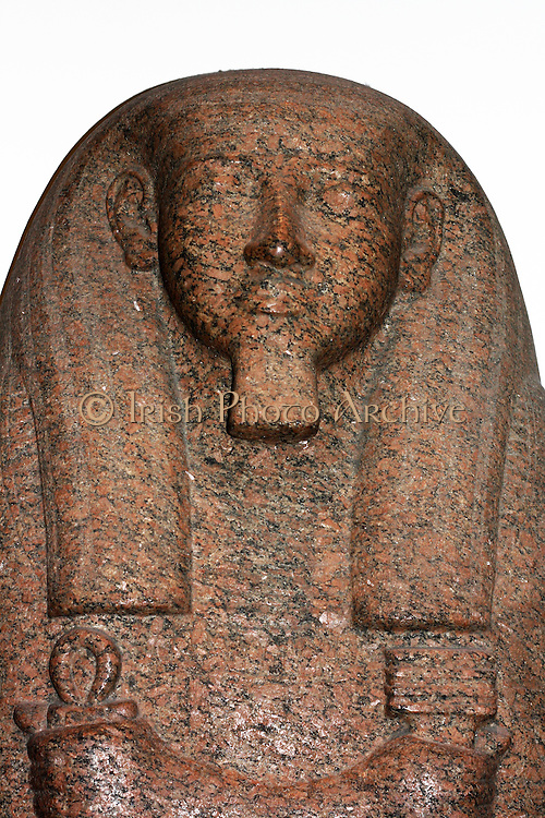 Detail from Red granite sarcophagus lid of Pahemnetjer. Nineteenth Dynasty (approx. 1250 BC) Egyptian. Possibly from Saqqara. Belonged to the coffin of the high priest of Ptah.