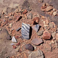Canyonlands National Park, UT.  Needles District. Colorado Plateau. Pottery shards near Wooden Shoe Arch.