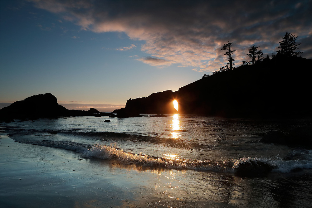 Sunset Through Headland Keyhole, Second Beach, Olympic National Park, WA