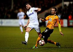 Stuart Dallas of Leeds United goes past Blair Adams of Cambridge United - Mandatory by-line: Robbie Stephenson/JMP - 09/01/2017 - FOOTBALL - Cambs Glass Stadium - Cambridge, England - Cambridge United v Leeds United - FA Cup third round