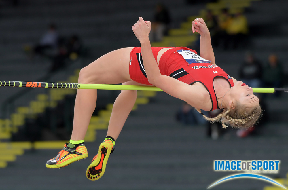 Jun 9, 2017; Eugene, OR, USA; Kaylee Hinton of Texas Tech clears 5-10 (1.78m) in the heptathlon high jump during the NORA Track and Field Championships at Hayward Field.