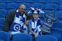 Football - 2017 / 2018 FA Cup - Fifth Round : Brighton and Hove Albion vs. Coventry City<br /> <br /> An early father and son Brighton fan take there seats for the FA Cup tie at The Amex Stadium Brighton <br /> <br /> COLORSPORT/SHAUN BOGGUST