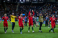 Portugal players run towards the fans at full time after winning the UEFA Nations League match between Portugal and Netherlands at Estadio do Dragao, Porto, Portugal on 9 June 2019.