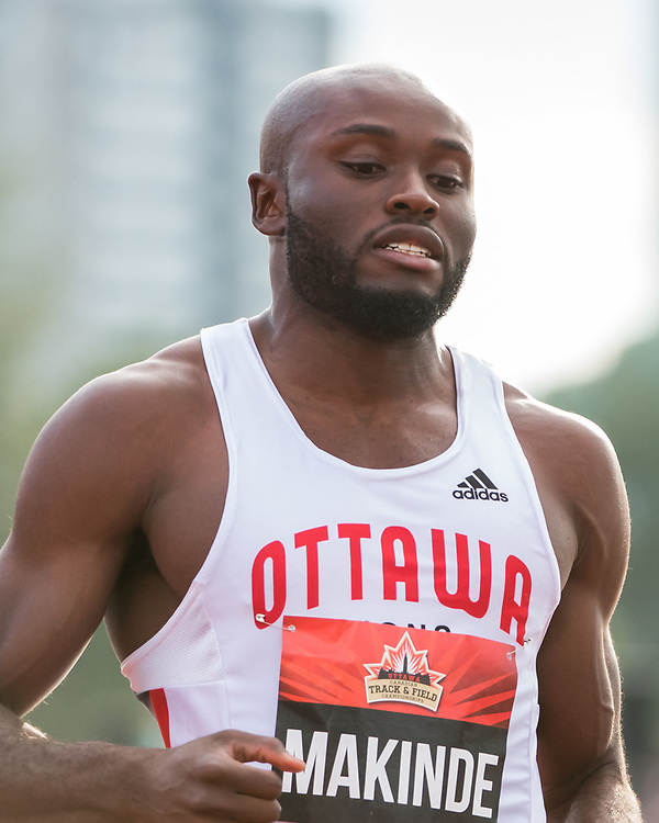 OTTAWA - JULY 07: Segun Makinde competing in the Men's 100m semi-final during the 2017 Canadian Track and Field Championships at the Terry Fox Athletic Facility in Ottawa, ON., Canada on July 7, 2017.<br /> <br /> Photo: Steve Kingsman for Sports Ottawa/Ottawa Sportspage