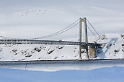 Kvalsund Bridge, in Finnmark, Norway, the most northerly suspension bridge in the world.