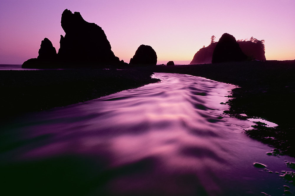 Cedar Creek and Ruby Beach, twilight, Pacific Coast, Olympic National Park, WA, USA