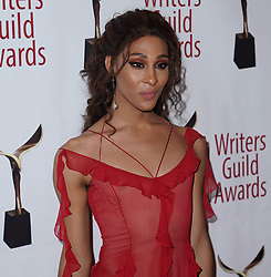 MJ Rodriguez arrivals at the Writers Guild Awards 2019 in New York City, USA on February 17, 2019.