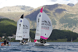 Team GAC Pindar (left boat) beats Mirsky Racing Team. St Moritz Match Race 2010. World Match Racing Tour. St Moritz, Switzerland. 3rd September 2010. Photo: Ian Roman/WMRT.