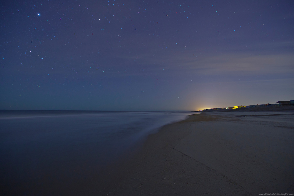 Looking south under the stars on a recently groomed beach,  Long Beach Island.