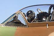 Israeli Pilot in the cockpit of a Mcdonnell-Douglas Skyhawk fighter jet