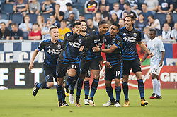 August 9, 2017 - Kansas City, Kansas, United States - Kansas City, KS - Wednesday August 9, 2017: Nick Lima, Danny Hoesen, Darwin Ceren, Francois Affolter, celebrate, celebration during a Lamar Hunt U.S. Open Cup Semifinal match between Sporting Kansas City and the San Jose Earthquakes at Children's Mercy Park. (Credit Image: © Amy Kontras/ISIPhotos via ZUMA Wire)