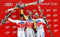 Alpint  , 14. desember 2012 GROEDEN,- FIS Weltcup, Super G der Herren. Bild zeigt  Jubel von Matteo Marsaglia (ITA), Aksel Lund Svindal (NOR) und Werner Heel (ITA). <br /> Norway only
