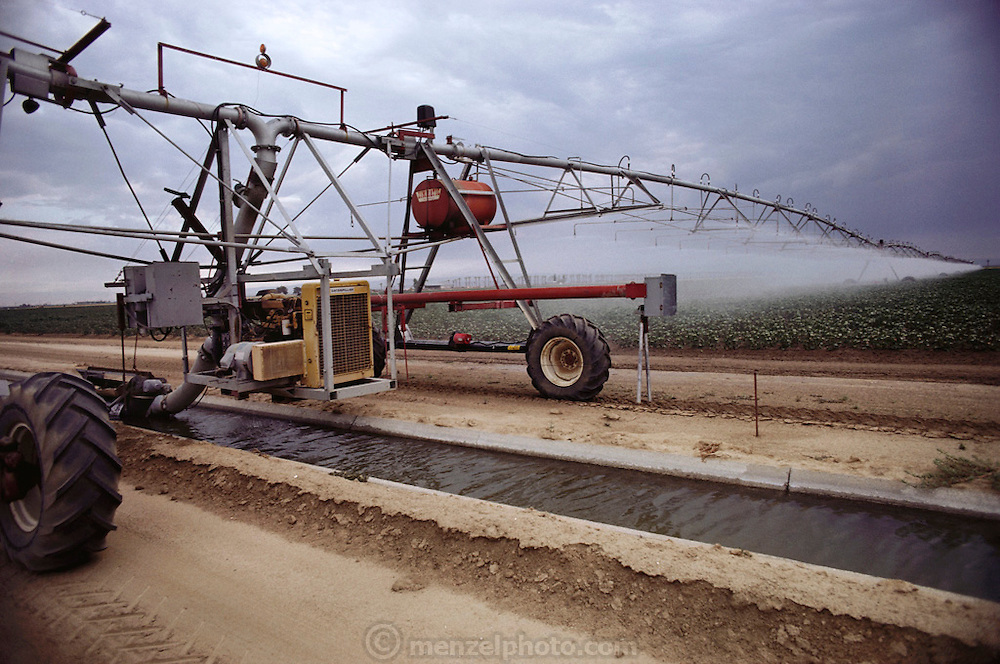 Irrigation: Tenneco West, Rosedale Ranch, Kern County, California.  The agricultural fields are irrigated as the automatic pumping and sprinkling machine rolls through the field drawing water from the small canal below. USA.