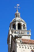 Belltower and cupola of Saint Mark's (Sveti Marko) Cathedral. Korcula old town, island of Korcula, Croatia