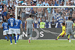 August 19, 2018 - Lisbon, Portugal - Belenenses' forward Fredy of Angola shoots to score and beets Porto's Spanish goalkeeper Iker Casillas during the Portuguese League football match Belenenses vs FC Porto at the Jamor stadium in Lisbon on August 19, 2018. (Credit Image: © Pedro Fiuza via ZUMA Wire)