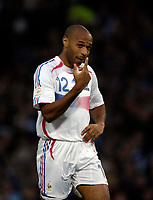 Photo: Jed Wee.<br />Scotland v France. UEFA European Championships 2008 Qualifying. 07/10/2006.<br /><br />France's Thierry Henry.