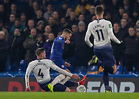 Football - 2018 / 2019 EFL Carabao Cup (League Cup) - Semi-Final, Second Leg: Chelsea (0) vs. Tottenham Hotspur (1)<br /> <br /> Toby Alderweireld (Tottenham FC) goes through the back of Eden Hazard (Chelsea FC)  as Chelsea are denied a penalty at Stamford Bridge <br /> <br /> COLORSPORT/DANIEL BEARHAM