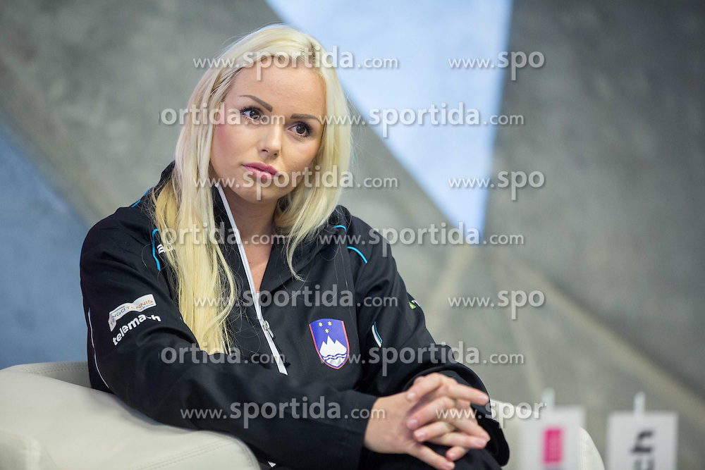 Tadeja Majeric during press conference of Slovenian women Tennis team before Fedcup tournament in Tallinn, Estonia, on January 28, 2015 in Kristalna palaca, Ljubljana, Slovenia. Photo by Vid Ponikvar / Sportida