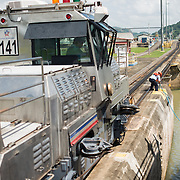 Known as mules, these small track engines help ships move into the locks of the Panama Canal. Opened in 1914, the Panama Canal is a crucial shipping lane between the Atlantic and Pacific Oceans that mean that ships don't have to go around the bottom of South America or over the top of Canada. The Canal was originally built and owned by the United States but was handed back to Panama in 1999.