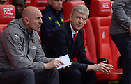 Arsene Wenger, the manager of Arsenal  looks on from the dugout. Premier league match, Stoke City v Arsenal at the Bet365 Stadium in Stoke on Trent, Staffs on Saturday 13th May 2017.<br /> pic by Bradley Collyer, Andrew Orchard sports photography.