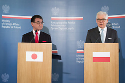 July 6, 2018 - Warsaw, Mazowsze, Poland - Japanese Foreign Minister Taro Kono (L) talks to journalists during a joint press conference with Polish Foreign Minister Jacek Czaputowicz (R) at College of Europe in Warsaw, Poland on 6 July 2018. Kono is visiting Poland to discuss bilateral concerns, in the framework of the conference of Ambassadors in Natolin. (Credit Image: © Mateusz Wlodarczyk/NurPhoto via ZUMA Press)