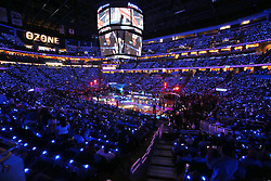 October 17, 2018 - Orlando, FL, USA - The stands are filled with special effects lights before the start of the Miami Heat at Orlando Magic game at the Amway Center in Orlando, Fla., on Wednesday, Oct. 17, 2018. (Credit Image: © Stephen M. Dowell/Orlando Sentinel/TNS via ZUMA Wire)