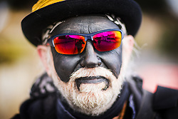 January 14, 2017 - Whittlesey, Cambridgshire, UK - Whittlesey UK. Picture shows a member of the Witchmen Molly dancers at the 38th Whittlesey Straw Bear Festival this weekend. In times past when starvation bit deep the ploughmen of the area where drawn to towns like Whittlesey, They knocked on doors begging for food & disguised their shame by blackening their faces with soot. In Whittlesey it was the custom on the Tuesday following Plough Monday to dress one of the confraternity of the plough in straw and call him a Straw Bear. The bear was then taken around town to entertain the folk who on the previous day had subscribed to the rustics, a spread of beer, tobacco & beef. The bear was made to dance in front of houses & gifts of money, beer & food was expected. (Credit Image: © Andrew Mccaren/London News Pictures via ZUMA Wire)